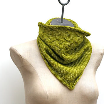 Ready to Ship: Chartreuse Green Hand Knitted 100% Merino Wool Bandana Cowl with Cabled Design