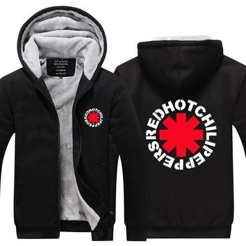2016High Quality Red Hot Chili Peppers Men Hoodies Rock and Roll Thicken Fleece Zip up Mens Jacket USA EU size Plus size