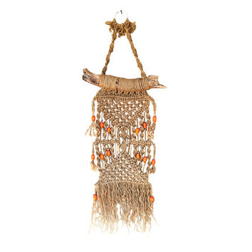 Large Boho Textile Wall Hanging / Vintage Fiber Art Crafted from Jute, Wood / Orange Beading / Earth Tones / Macrame / Statement Wall Art