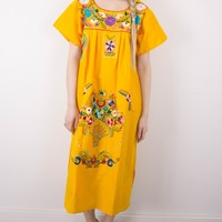 Vintage 70s Mexican Embroidered Floral Ethnic Maxi Dress