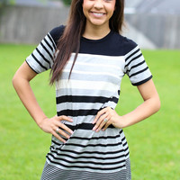 On the Go Dress - Black Stripe