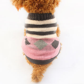 Armi store Autumn Winter Stripe Pattern Dog Sweater Fashion Pet Sweaters 6091006 Puppy Clothing Supplies 5 Size