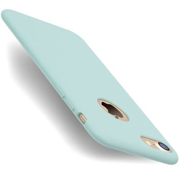 iPhone 7 Case, TORRAS [Love Series] Liquid Silicone Gel Rubber iPhone 7 Shockproof Case with Soft Microfiber Cloth Lining Cushion (2016)- Mint