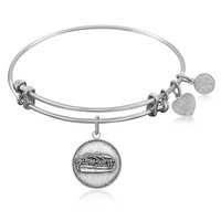 Expandable Bangle in White Tone Brass with Noah's Ark Preservation Symbol