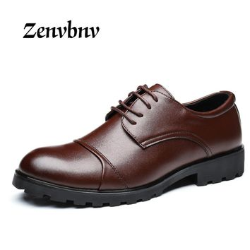 ZENVBNV  Men Leather Shoes Casual New 2017 Genuine Leather Shoes Men Oxford Fashion Lace Up Dress Shoes Business work shoes