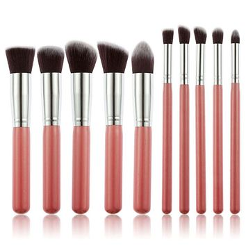 10 Pcs Makeup Brushes set  Makeup Organizer blush Blending Eyebrow eyeshadow brush kabuki foundation Brush Cleaner maquillaje