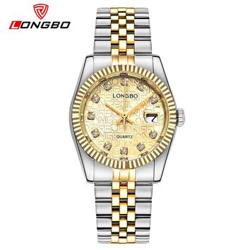 Top Brand Luxury Gold Quartz Watches Wome LONGBO Stainless Steel Girl Wrist Watch Ladies Clock Classical Relogio Feminino