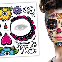 Tattoo Sales: Day of the Dead Floral Face Halloween Skull Temporary Tattoo - Buy Direct From The Source