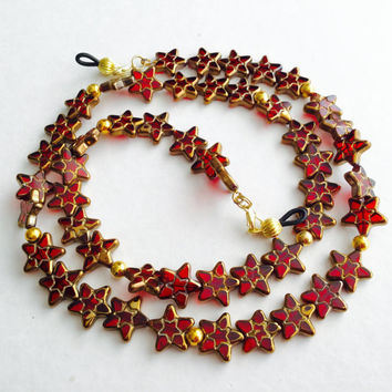 Handmade  Red Garland Eyeglass Chain