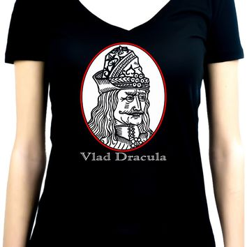 Vlad Dracula The Impaler Women's V-Neck Shirt Top Vampire