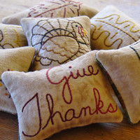 Thanksgiving Bowl Fillers - Decorative Pillows - Tucks - Ornies - Give Thanks - Turkey - Pumpkin - Leaves - Primitive - Plaid