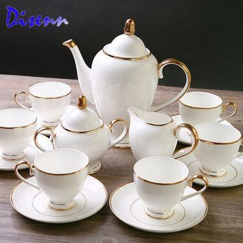 CREYU3C Special Offer Quality  Coffee & Tea Sets  Bone-China  15 Piece Drinkware British Gold Inlaid White Ceramics Cups