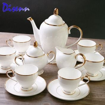 ESB9GW Special Offer Quality  Coffee & Tea Sets  Bone-China  15 Piece Drinkware British Gold Inlaid White Ceramics Cups