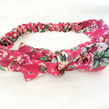 Vintage inspired floral fabric print raspberry, bright pink, coral, green, yellow knot bow headband with removable tie on top for two lo