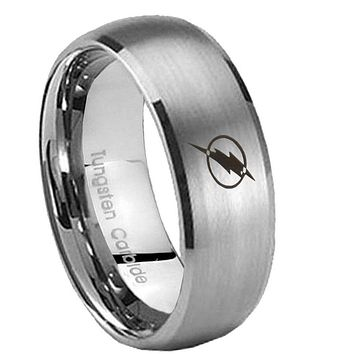10mm Classic Satin Silver Dome Flash Tungsten Laser Engraved Ring