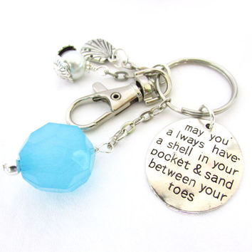Beach Inspired Keychain, Sand Between Your Toes Quote Keychain, Pearl and Seashell Keyring