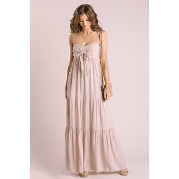 Daniela Blush Tie Front Maxi Dress
