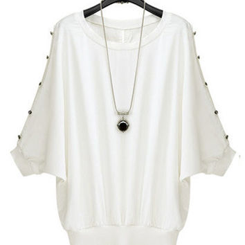 White Beaded Stud Short Sleeve Blouse
