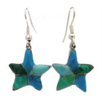 Alpaca Silver Inlaid Blue/ Green Star Earrings (Mexico) | Overstock.com