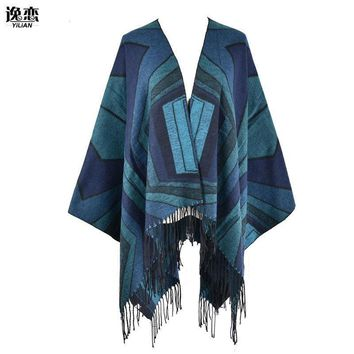 Women Irregular Diamond Pattern Blanket Poncho / Wrap