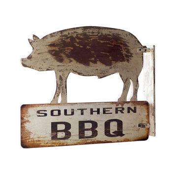 Southern BBQ Pig Wood Sign