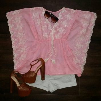 Asian Queen Pink Lace Batwing Kimono Top