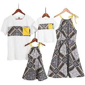 Short Sleeve Cotton T-Shirt and Bowknot Dress Family Matching Outfits