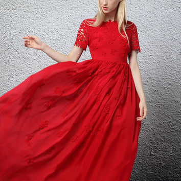 Ankle Length Chiffon Dress in Red or White