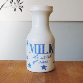 Vintage Milk promotional bottle with lid , Milk the drink of the stars