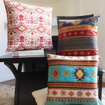Blue Red Turkish Pillow Cover - Blue Red Ethnic Tribal with Blue Velvet Pillow Cushion 18 x 18 inch