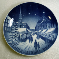 Christmas Plate Collectible Plate Vintage Christmas Decor Blue and White China Collector Plate Christmas Decor Bavarian China Gift Idea