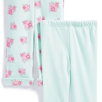 Infant Girl's Little Me 'Posies' Cotton Pants (Set of 2)
