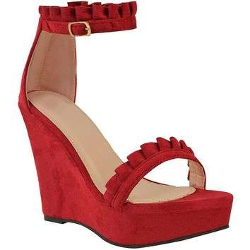 Sexy Red Faux Suede Ruffled High Heel Platform Wedge Wedding Sandals