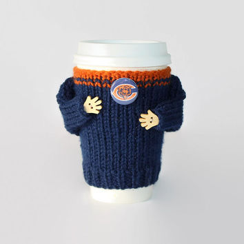 Chicago Bears coffee cozy. NFL Bears jersey. Blue orange. Knitted cup sleeve. Travel mug cozy. Football fan. Boyfriend gift. Sporty gift