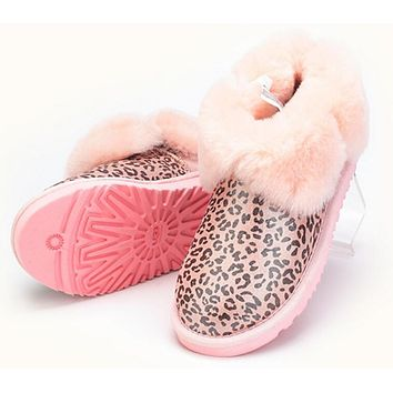 UGG: Fashion Women Men Winter Four-Leaf Fur Snow Boots Warm Anti-Skid Short Boots Pink Leopard