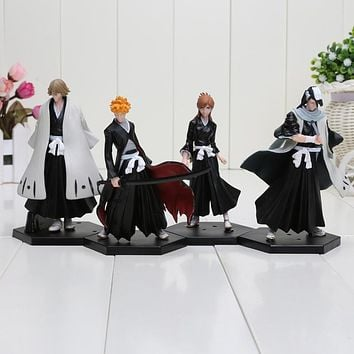 Free shipping 4pcs/set Bleach Kurosaki Ichigo Kuchiki Byakuya PVC Action Figure Model Toy Doll