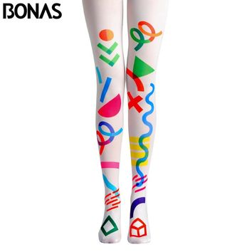 BONAS Candy Color Pantyhose Tights Women Stylish White Print Legins