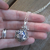 Leaf Pattern Harmony Ball Necklace, Bola Necklace, Pregnancy Necklace, Long Silver Necklace, 20mm and 36""