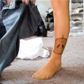 Tattoo Tights - BIRDS in cage printed art / birds drawings / birds couple / two birds / male and female / birds stockings / tattoo ink