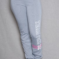 Luscious Cream Team Pink Sweatpants With Pink Striped Mid Rise Waistband - Gray