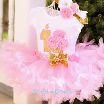 First Birthday tutu- 1st Birthday tutu- Pink and Gold tutu- Pink and Gold Birthday- Pink and Gold Dress- Cake Smash set- 1st Birthday outfit