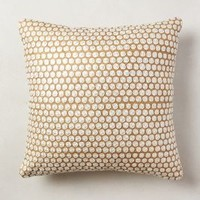 Hand-Embroidered Roundels Pillow by Anthropologie in Gold Size: One Size Pillows