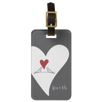 Personalized Template Cute White Doves in Love Luggage Tags: You & Me: Girly Bag Tag Gift for Birthday, Wedding, or Valentine's Day