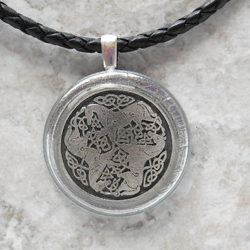 epona horse necklace: mens necklace - celtic jewelry - leather cord - mens jewelry - boyfriend gift - horse jewelry - unique gift
