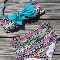 Fifties Chic Aztec High Waist Bikini