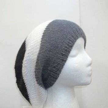 Slouch hat beanie shades of grey. white and black  5315