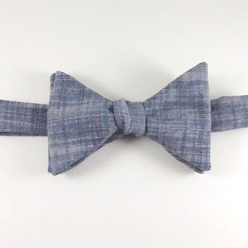 Self Tie Slub Chambray Indigo Men's Bow Tie