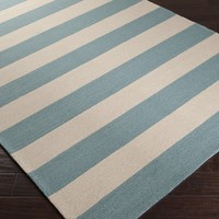 Stormy Sea Blue and White Beach Striped Area Rug