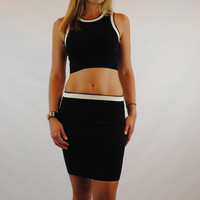 (amq) Contrast knit cropped black tank top