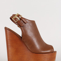 Double Buckle Faux Wood Open Toe Wedge